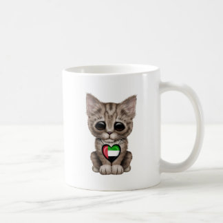 Cute Kitten Cat with UAE Flag Heart Coffee Mugs