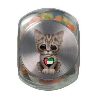 Cute Kitten Cat with UAE Flag Heart Glass Candy Jar
