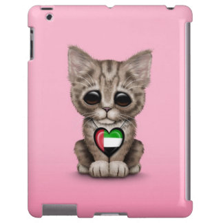 Cute Kitten Cat with UAE Flag Heart, pink