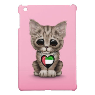 Cute Kitten Cat with UAE Flag Heart, pink Case For The iPad Mini