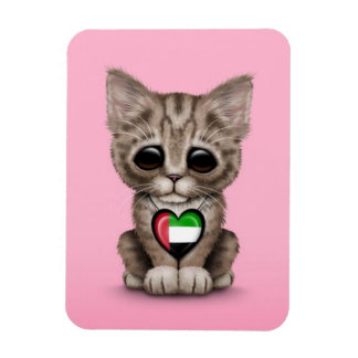 Cute Kitten Cat with UAE Flag Heart pink Vinyl Magnets