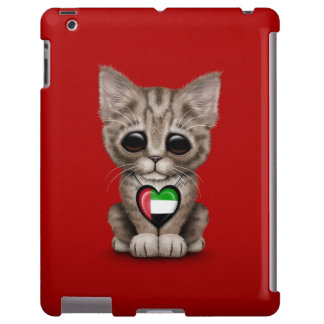 Cute Kitten Cat with UAE Flag Heart, red