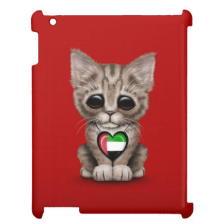 Cute Kitten Cat with UAE Flag Heart, red iPad Cover