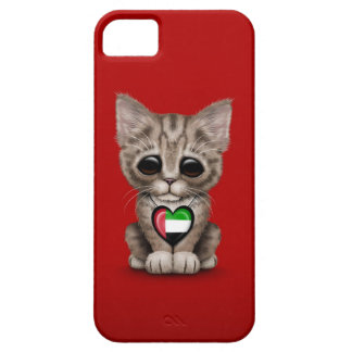 Cute Kitten Cat with UAE Flag Heart, red iPhone SE/5/5s Case