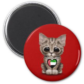 Cute Kitten Cat with UAE Flag Heart red Fridge Magnet