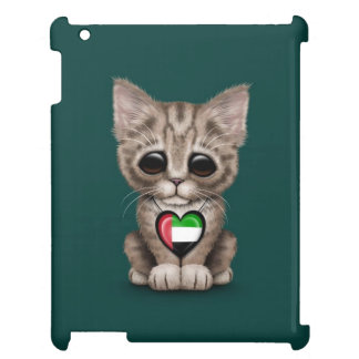 Cute Kitten Cat with UAE Flag Heart, teal iPad Cover