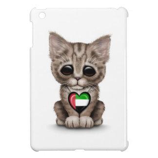 Cute Kitten Cat with UAE Flag Heart, white iPad Mini Covers