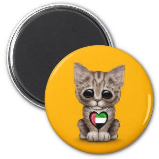 Cute Kitten Cat with UAE Flag Heart yellow Fridge Magnet
