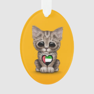 Cute Kitten Cat with UAE Flag Heart, yellow Ornament