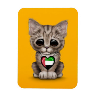 Cute Kitten Cat with UAE Flag Heart yellow Rectangle Magnets