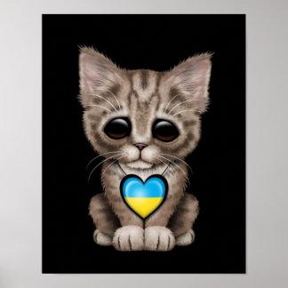 Cute Kitten Cat with Ukrainian Flag Heart black Posters