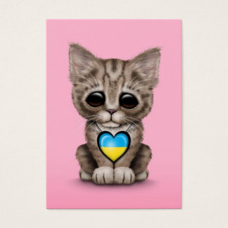 Cute Kitten Cat with Ukrainian Flag Heart, pink Business Card