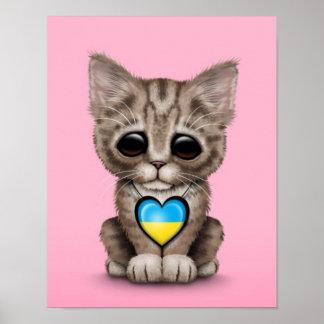 Cute Kitten Cat with Ukrainian Flag Heart pink Posters