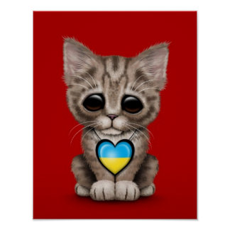 Cute Kitten Cat with Ukrainian Flag Heart red Poster
