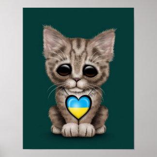 Cute Kitten Cat with Ukrainian Flag Heart teal Print