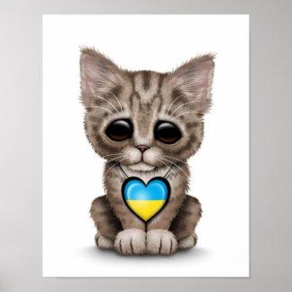 Cute Kitten Cat with Ukrainian Flag Heart white Print