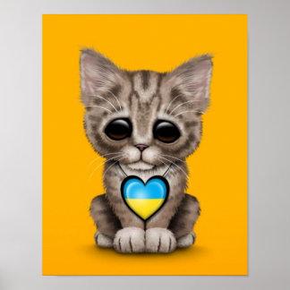 Cute Kitten Cat with Ukrainian Flag Heart yellow Print