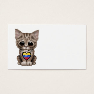 Cute Kitten Cat with Venezuelan Flag Heart Business Card