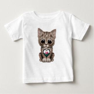 Cute Kitten Cat with Welsh Flag Heart Baby T-Shirt