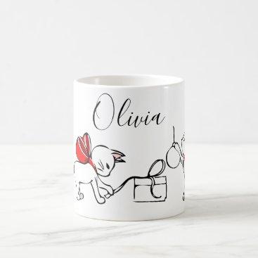 Cute Kitten Christmas Add Name Coffee Mug