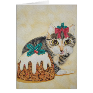 cute kitten christmas pudding cat art note card
