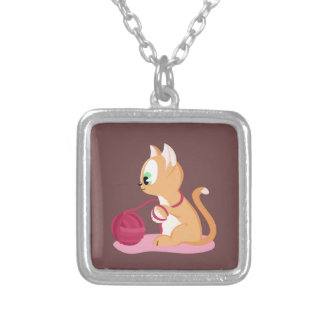 Cute kitten copper color silver plated necklace