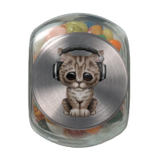 Cute Kitten Dj Wearing Headphones Glass Candy Jar