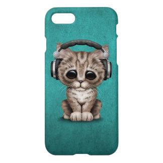 Cute Kitten Dj Wearing Headphones on Blue iPhone 7 Case