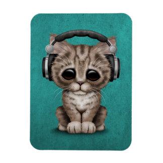 Cute Kitten Dj Wearing Headphones on Blue Magnet