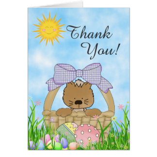 Cute Kitten, Easter Basket and Eggs Thank You Card