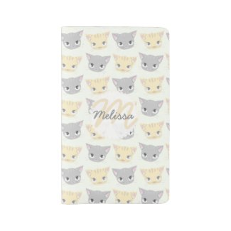 Cute Kitten Face Pattern Pocket Moleskine Notebook Cover With Notebook