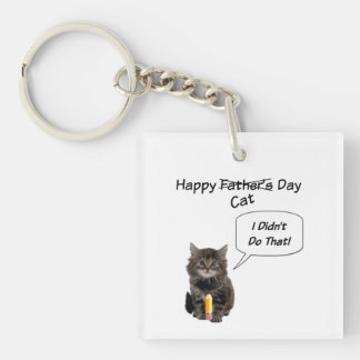 Cute Kitten Father's Day Square KeyChain