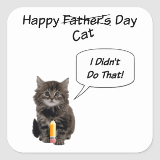 Fathers day kittens craft supplies zazzle cute kitten father39s day square stickers sciox Gallery