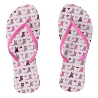 Cute kitten girls pattern flip flops