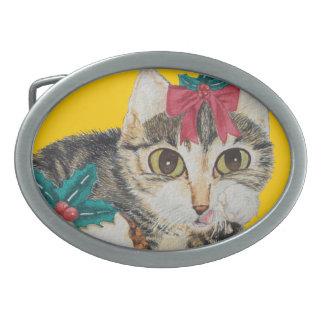 cute kitten gray tabby licking paw christmas belt buckle