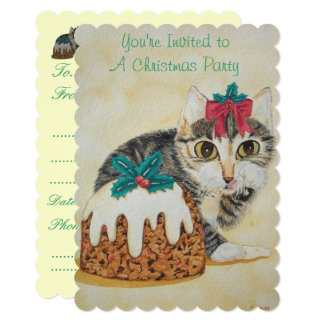 cute kitten gray tabby licking paw christmas card