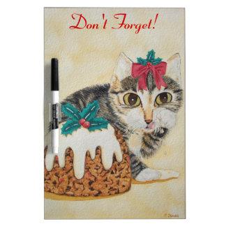 cute kitten gray tabby licking paw christmas dry erase board