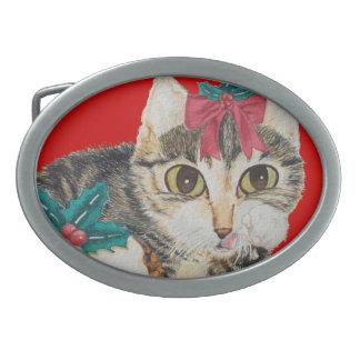 cute kitten gray tabby licking paw christmas oval belt buckle
