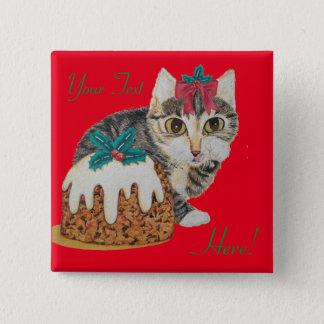 cute kitten gray tabby licking paw christmas pinback button