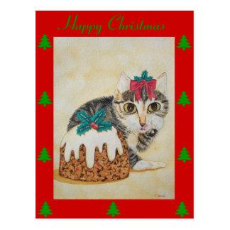 cute kitten gray tabby licking paw christmas postcard