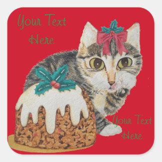 cute kitten gray tabby licking paw christmas square sticker