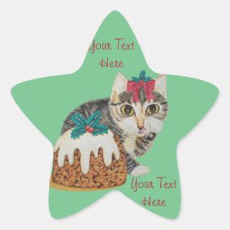 cute kitten gray tabby licking paw christmas star sticker