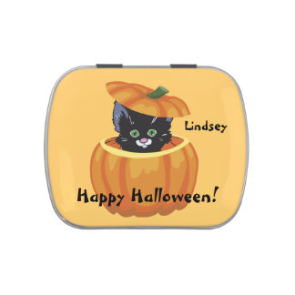 Cute Kitten Halloween Personalized Candy Tin