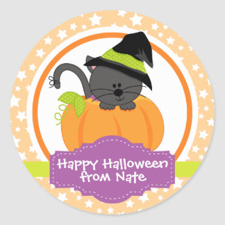 Cute Kitten Happy Halloween for Kids Personalized Classic Round Sticker