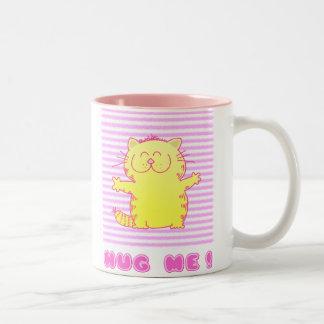 Cute Kitten Hug Two-Tone Coffee Mug