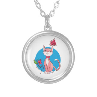 Cute kitten  illustration silver plated necklace
