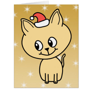 Cute Kitten in a Christmas Hat. Greeting Cards
