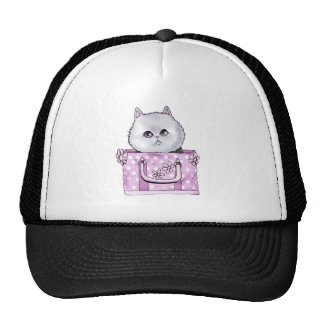 CUTE KITTEN IN A PURSE TRUCKER HAT