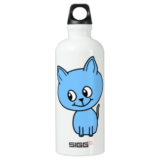 Cute Kitten, in Blue. Water Bottle