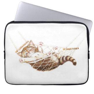 Cute kitten in hammock computer sleeve